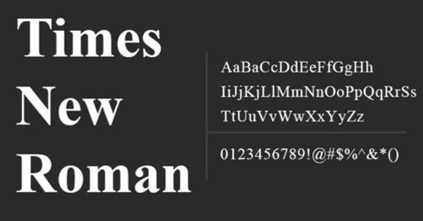 Hầu hết các văn bản phổ thông đều sử dụng font Times New Roman
