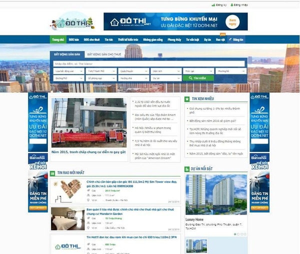 Website bất động sản không thể thiếu các thông tin chi tiết hơn về dự án để khách hàng tham khảo