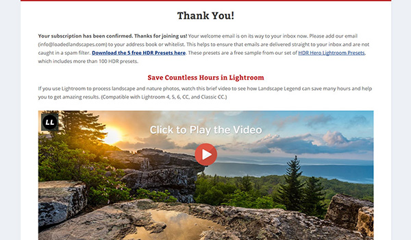 Blog nhiếp ảnh Loaded Landscapes cung cấp tải xuống miễn phí 5 cài đặt Lightroom cho những ai đăng ký email thay cho lời cảm ơn